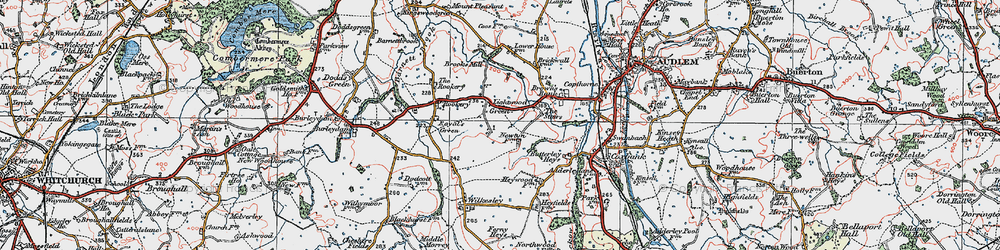 Old map of Lightwood Green in 1921