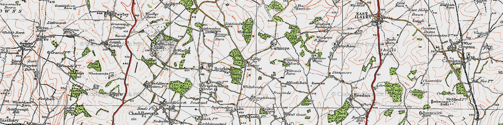 Old map of Whitelands in 1919
