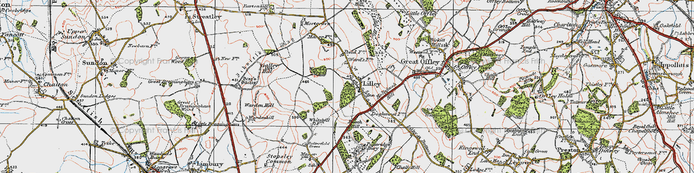 Old map of Lilley in 1919