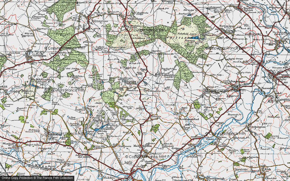 Old Map of Historic Map covering Tilehouse Wood in 1919