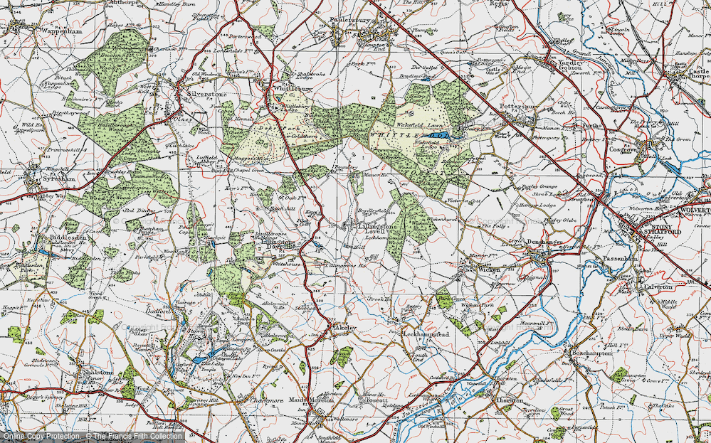 Old Map of Lillingstone Lovell, 1919 in 1919