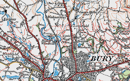 Old map of Limefield in 1924