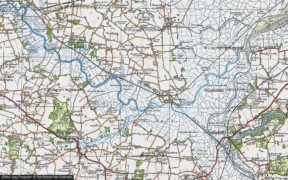 Old Map of Historic Map covering Limpenhoe Marshes in 1922