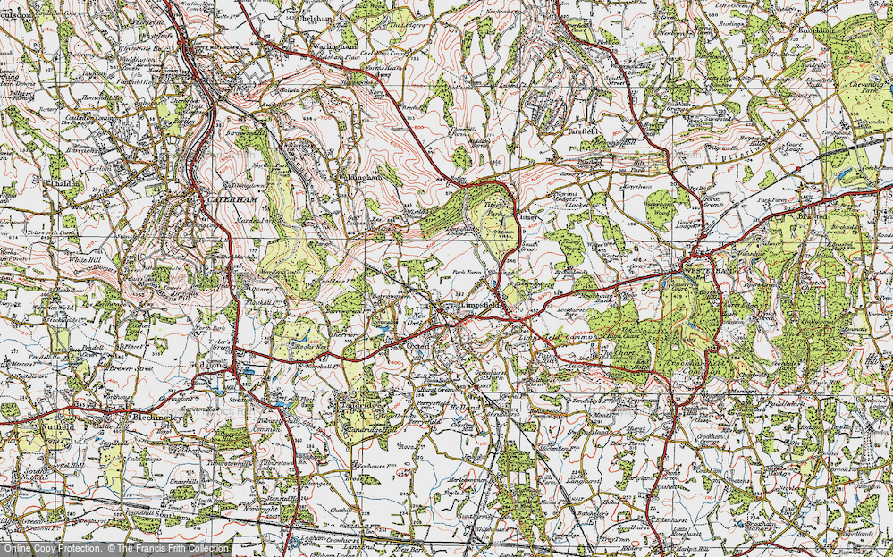Old Map of Limpsfield, 1920 in 1920