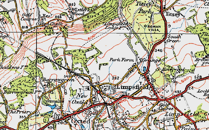 Old map of Limpsfield in 1920