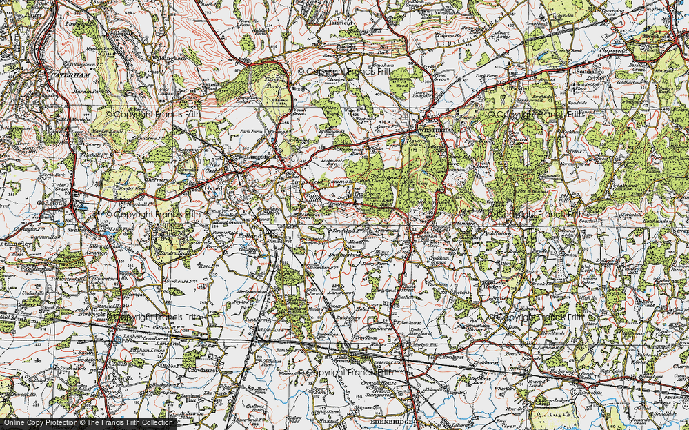 Old Map of Limpsfield Chart, 1920 in 1920