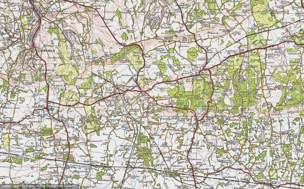 Old Map of Limpsfield Common, 1920 in 1920