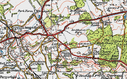 Old map of Limpsfield Common in 1920