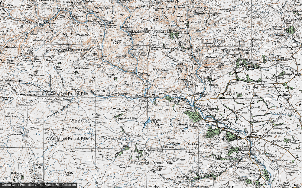 Old Map of Historic Map covering Linshiels in 1925