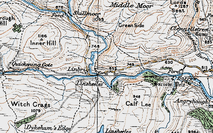 Old map of Linshiels in 1925