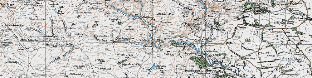 Old map of Witch Crags in 1925