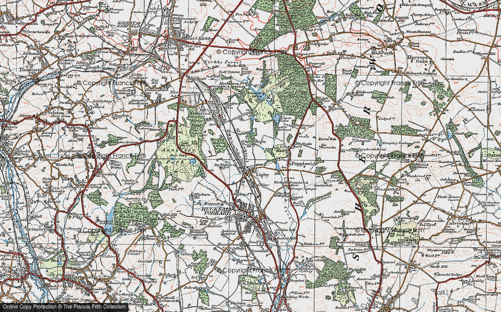 Old Map of Historic Map covering Aldercar Wood in 1921