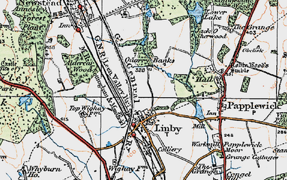 Old map of Aldercar Wood in 1921
