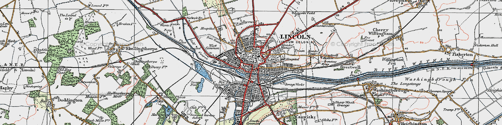 Old map of Lincoln in 1923