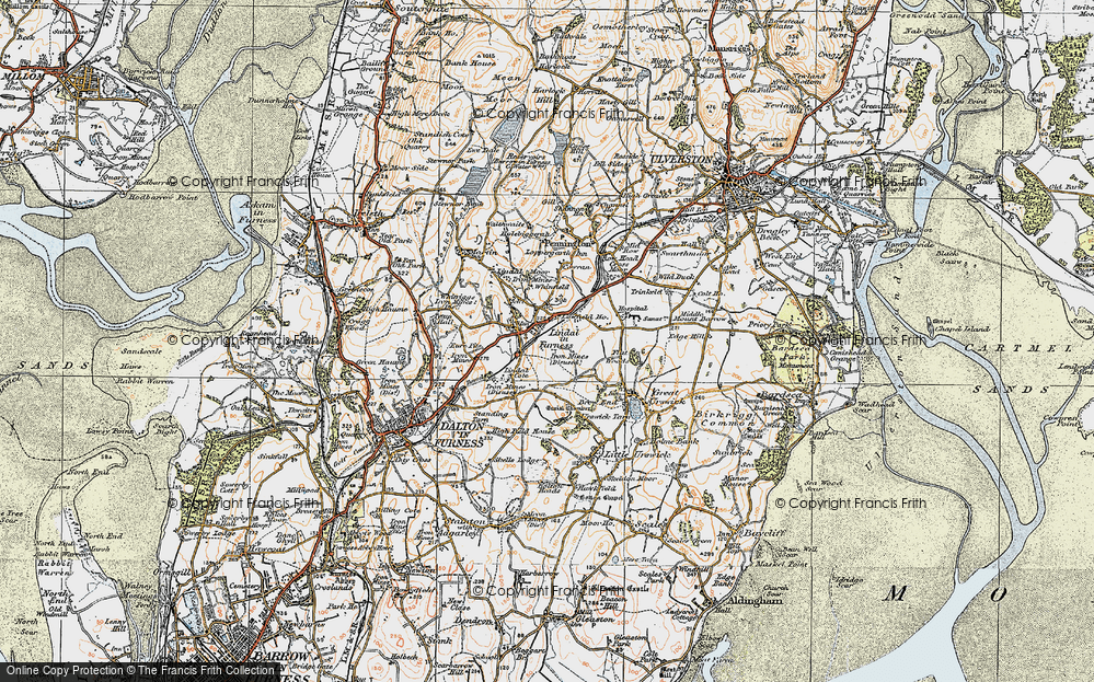 Old Map of Historic Map covering Lindal Cote Cott in 1925