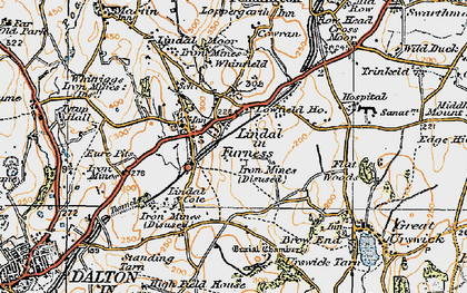Old map of Lindal Cote Cott in 1925