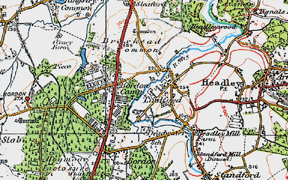 Old map of Lindford in 1919