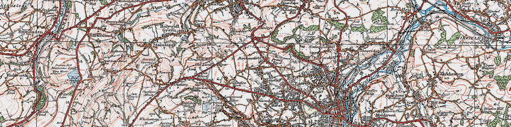 Old map of Lindley in 1925