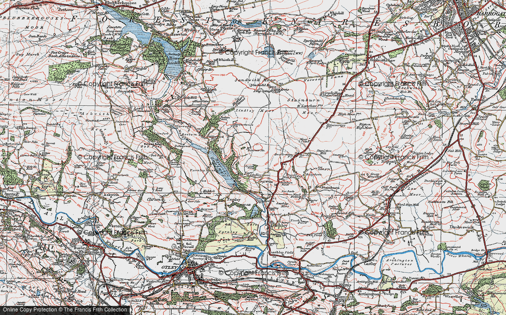 Old Map of Historic Map covering Lindley Wood in 1925