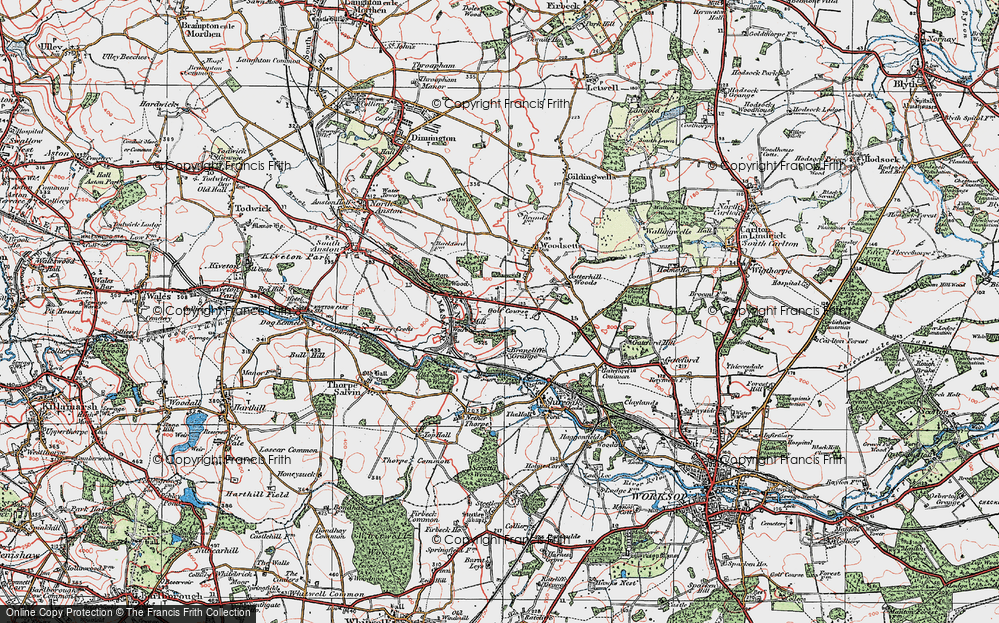 Old Map of Historic Map covering Lindrick Common in 1923