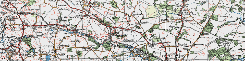 Old map of Anston Stones Wood in 1923