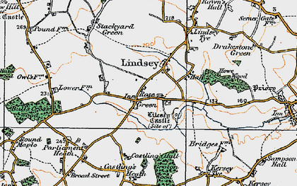 Old map of Lindsey in 1921
