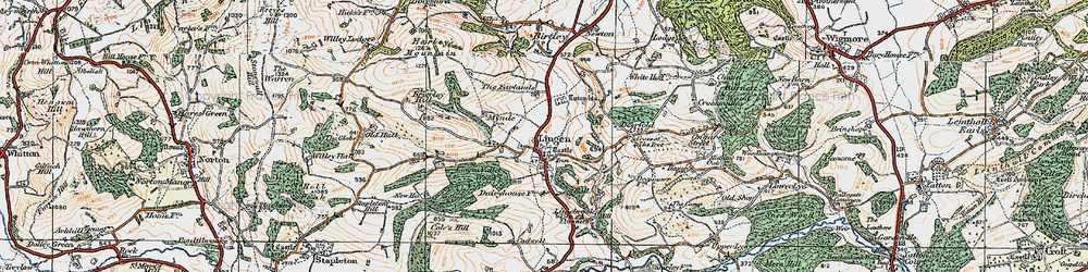 Old map of Lingen in 1920