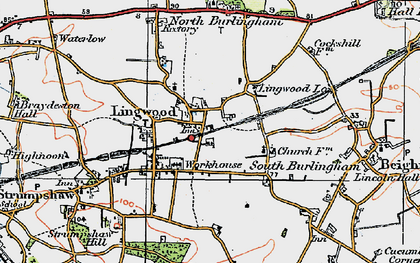 Old map of Lingwood in 1922