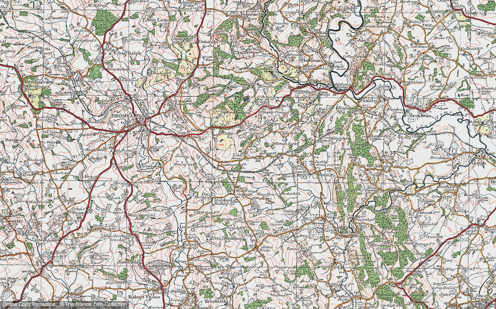 Old Map of Linley Green, 1920 in 1920
