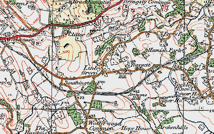 Old map of Linley Green in 1920