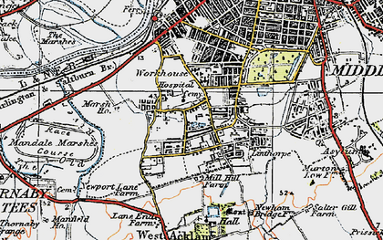 Old map of Linthorpe in 1925