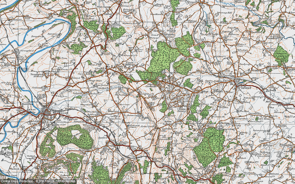 Old Map of Historic Map covering Linton Wood in 1919