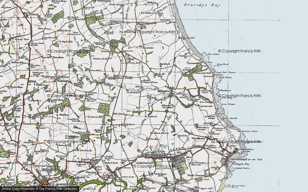 Old Map of Historic Map covering Linton Burn in 1925