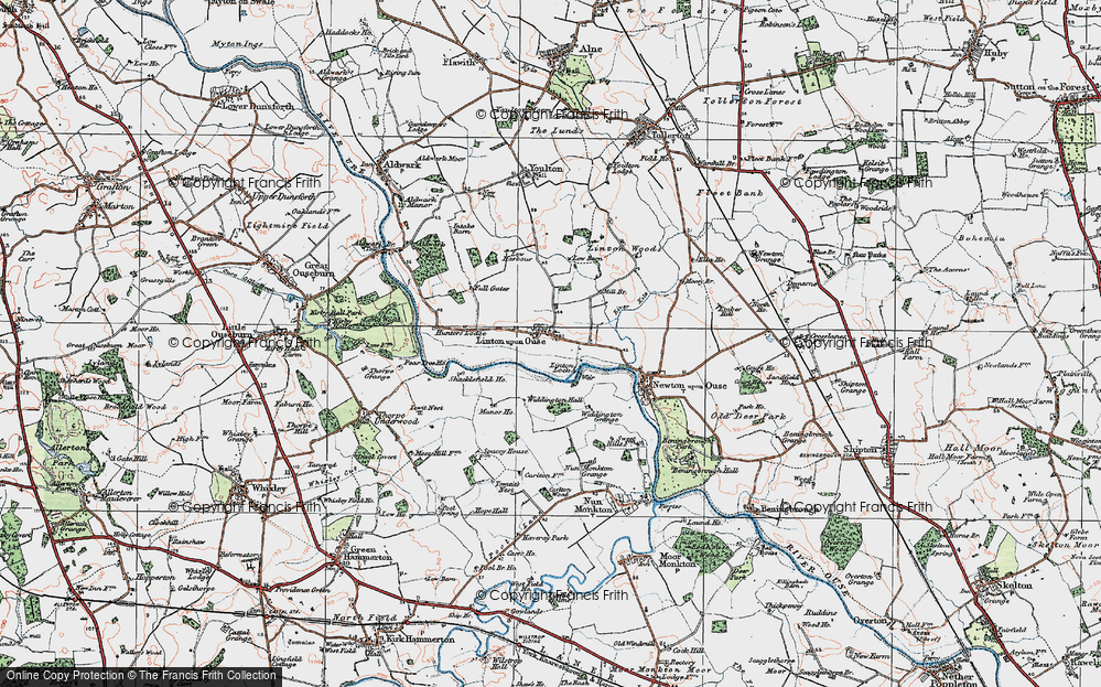 Old Map of Historic Map covering Linton Lock in 1924