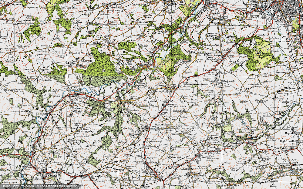 Old Map of Historic Map covering Lintz Green in 1925