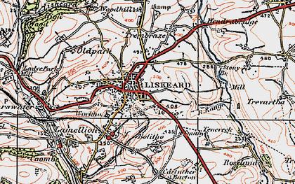 Old map of Liskeard in 1919