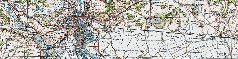Old map of Liswerry in 1919