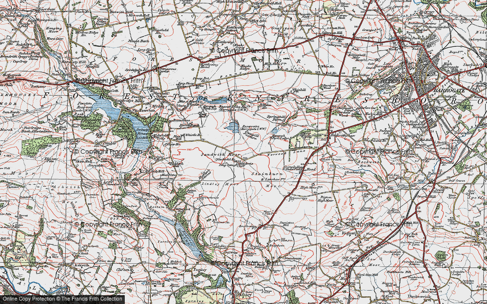 Old Map of Historic Map covering Lindley Moor in 1925
