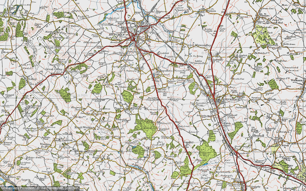 Old Map of Historic Map covering Almshoe Bury in 1920