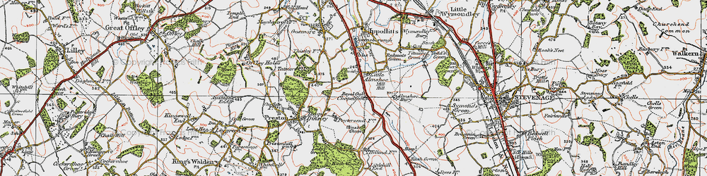 Old map of Almshoe Bury in 1920