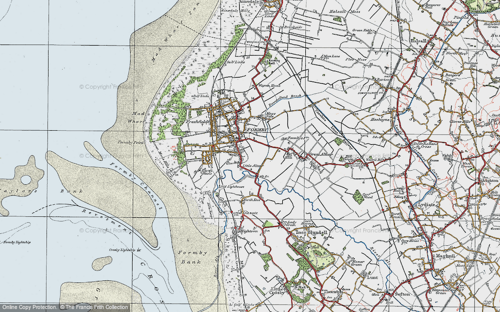 Old Map of Historic Map covering Alt Bridge in 1923