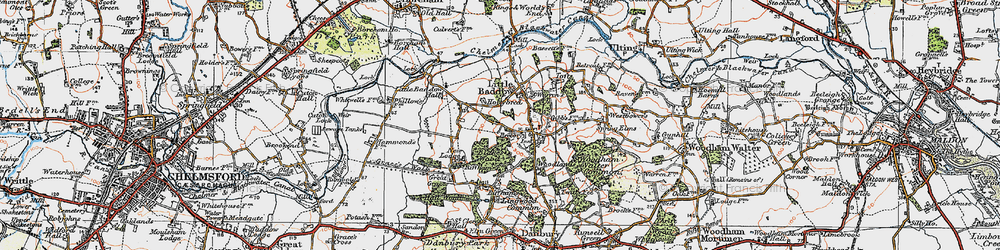 Old map of Little Baddow in 1921