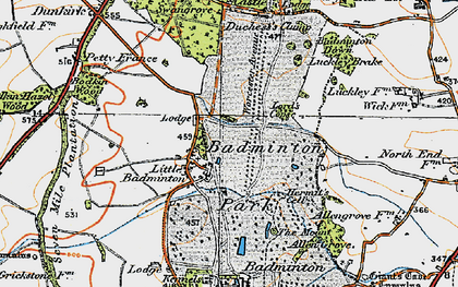 Old map of Badminton Down in 1919