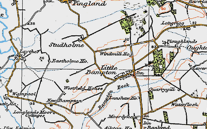 Old map of Bampton Beck in 1925
