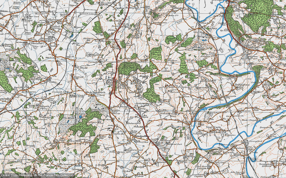 Old Map of Historic Map covering Athelstans Wood in 1919
