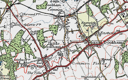 Old map of Little Bookham in 1920