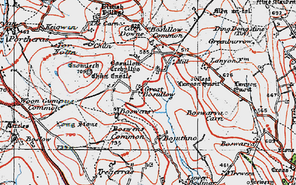 Old map of Little Bosullow in 1919