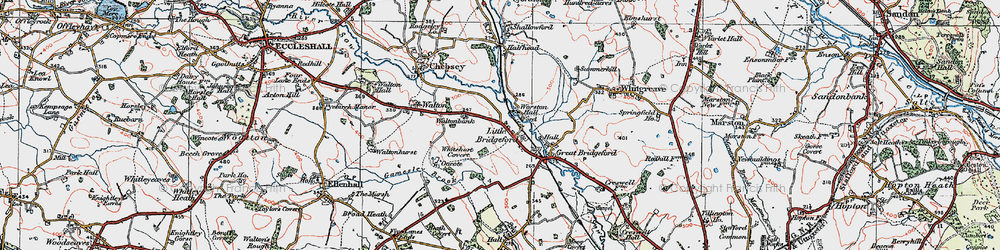Old map of Worston Hall in 1921