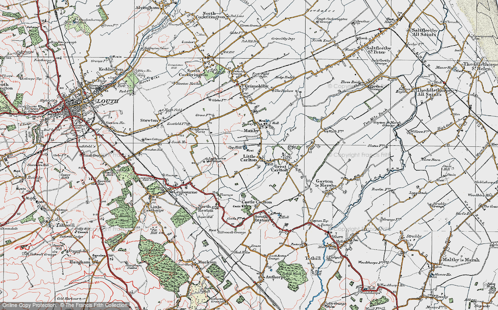 Old Map of Historic Map covering Legbourne Grange in 1923