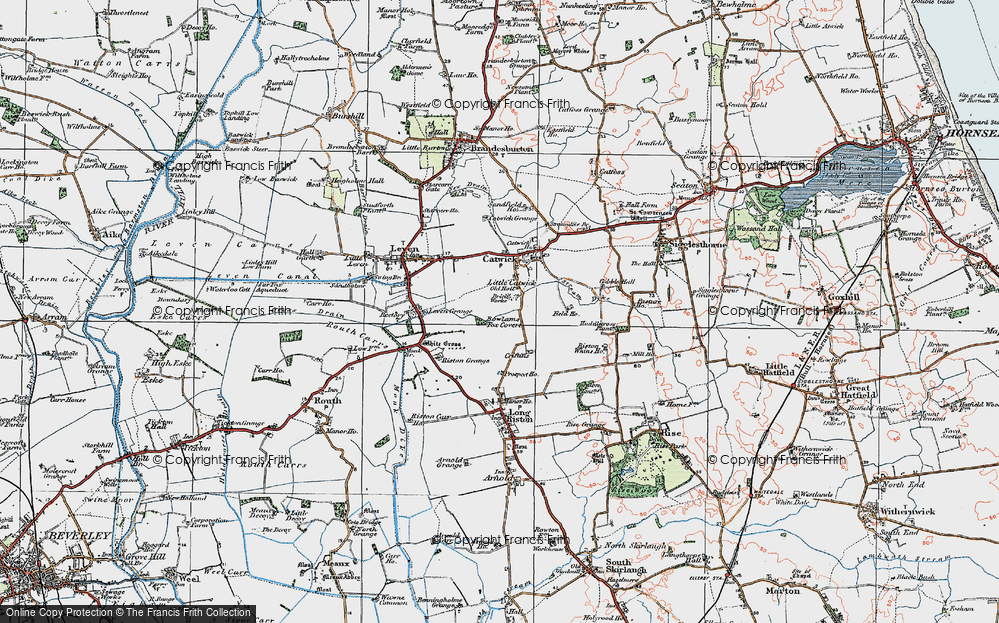 Old Map of Historic Map covering Riston Grange in 1924